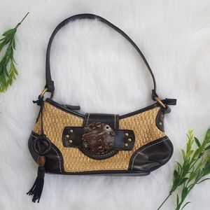 Woven straw and faux leather dress purse
